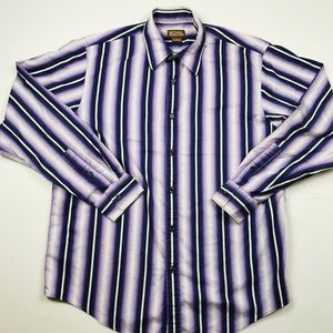 Michael kors Dress Shirt Sz L Purple Striped  C8